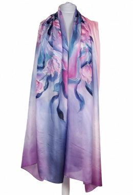 SZM-056 Large Violet-Gray Silk Scarf Hand Painted, 250x90cm