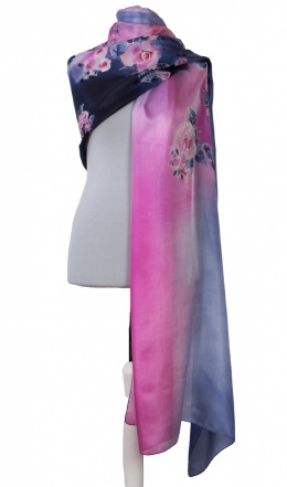 SZM-053 Large Navy Blue and Pink Hand Painted Silk Scarf, 250x90cm