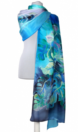 SZM-049K Large Blue and Navy Hand-Painted Silk Scarf, 250x90cm