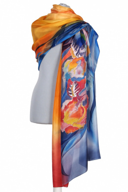 SZM-059 Large Blue and Orange Hand Painted Silk Scarf, 250x90cm
