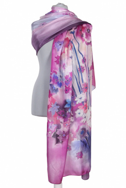 SZM-064 Large Pink and Purple Hand-Painted Silk Scarf, 250x90cm