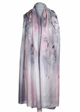 SZM-057 Large Pink and Gray Silk Scarf Hand Painted, 250x90cm