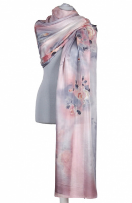 SZM-063 Large Pink Hand-Painted Silk Scarf, 250x90cm