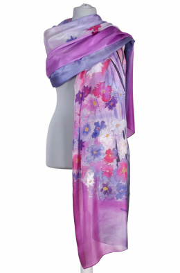 SZM-060 Large Pink Hand-Painted Silk Scarf, 250x90cm