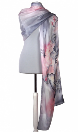 SZM-047 Large Gray-Pink Hand-Painted Silk Scarf, 250x90cm