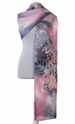 SZM-051 Large Gray-Pink Hand-Painted Silk Scarf, 250x90cm