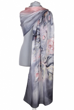 SZM-062 Large Gray Hand-Painted Silk Scarf, 250x90cm