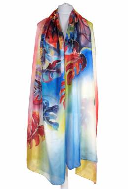 SZM-055 Large Multicolored Silk Scarf Hand Painted, 250x90cm