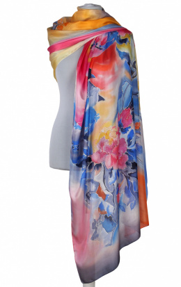SZM-048 Large Multicolored Silk Scarf Hand Painted, 250x90cm