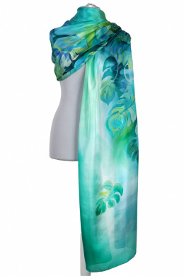 SZM-061 Large Green Hand-Painted Silk Scarf, 250x90cm