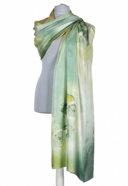 SZM-058 Large Green Hand-Painted Silk Scarf, 250x90cm