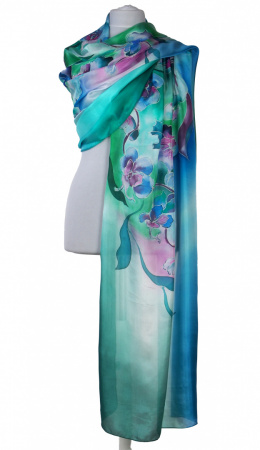 SZM-052 Large Green Hand-Painted Silk Scarf, 250x90cm