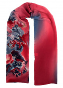 Blue-Red Hand Painted Silk Scarf, 170x45 cm