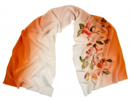 Apricot-Cream Hand Painted Silk Scarf, 170x45 cm