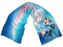 Blue Hand Painted Silk Scarf, 170x45 cm