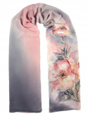 Gray-pink Hand Painted Silk Scarf, 170x45 cm