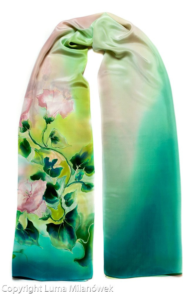 Green-Pink Hand Painted Silk Scarf, 170x45 cm