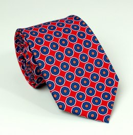 Red tie with blue circles