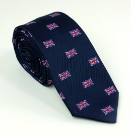 A navy blue tie with the flag of Great Britain