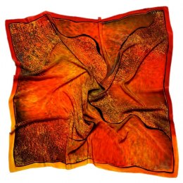 Red Hand Painted Silk Scarf, 90x90cm