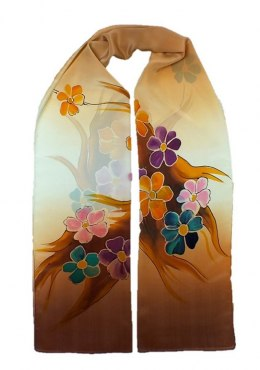 Brown-beige Hand Painted Silk Scarf, 170x45 cm