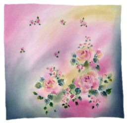 AM-516 Hand-painted silk scarf, 55x55 cm
