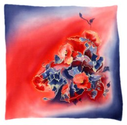 AM-517 Hand-painted silk scarf, 55x55 cm
