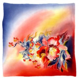 AM-519 Hand-painted silk scarf, 55x55 cm