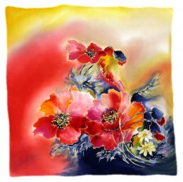 AM-522 Hand-painted silk scarf, 55x55 cm