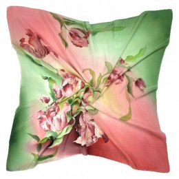 Pink-green Hand Painted Silk Scarf, 90x90cm