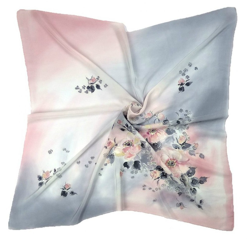 AM-452 Hand-painted silk scarf, 90x90cm (1)