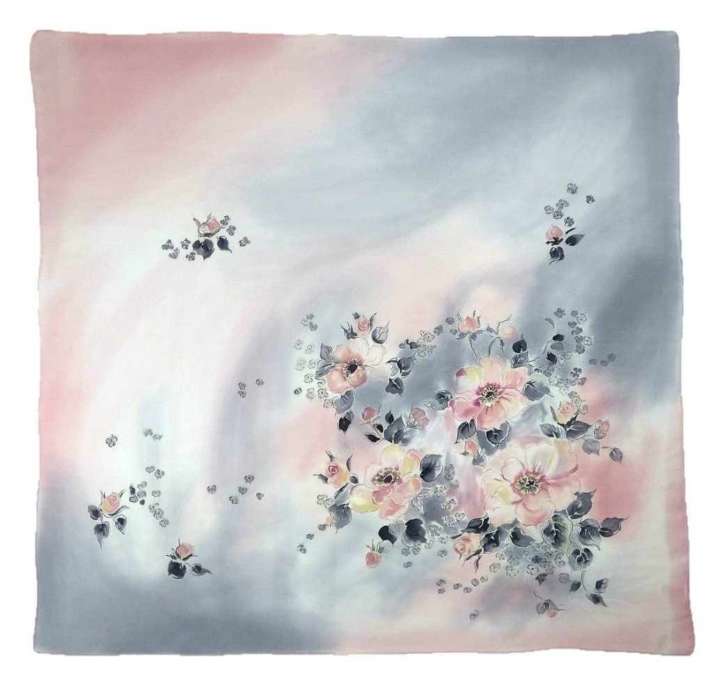 AM-452 Hand-painted silk scarf, 90x90cm (2)