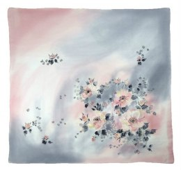 Gray-pink Hand Painted Silk Scarf, 90x90cm