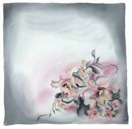 Gray Hand Painted Silk Scarf, 90x90cm