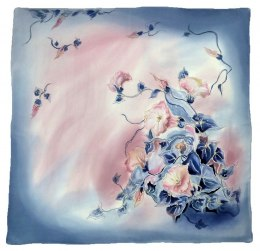 Blue-pink Hand Painted Silk Scarf, 90x90cm