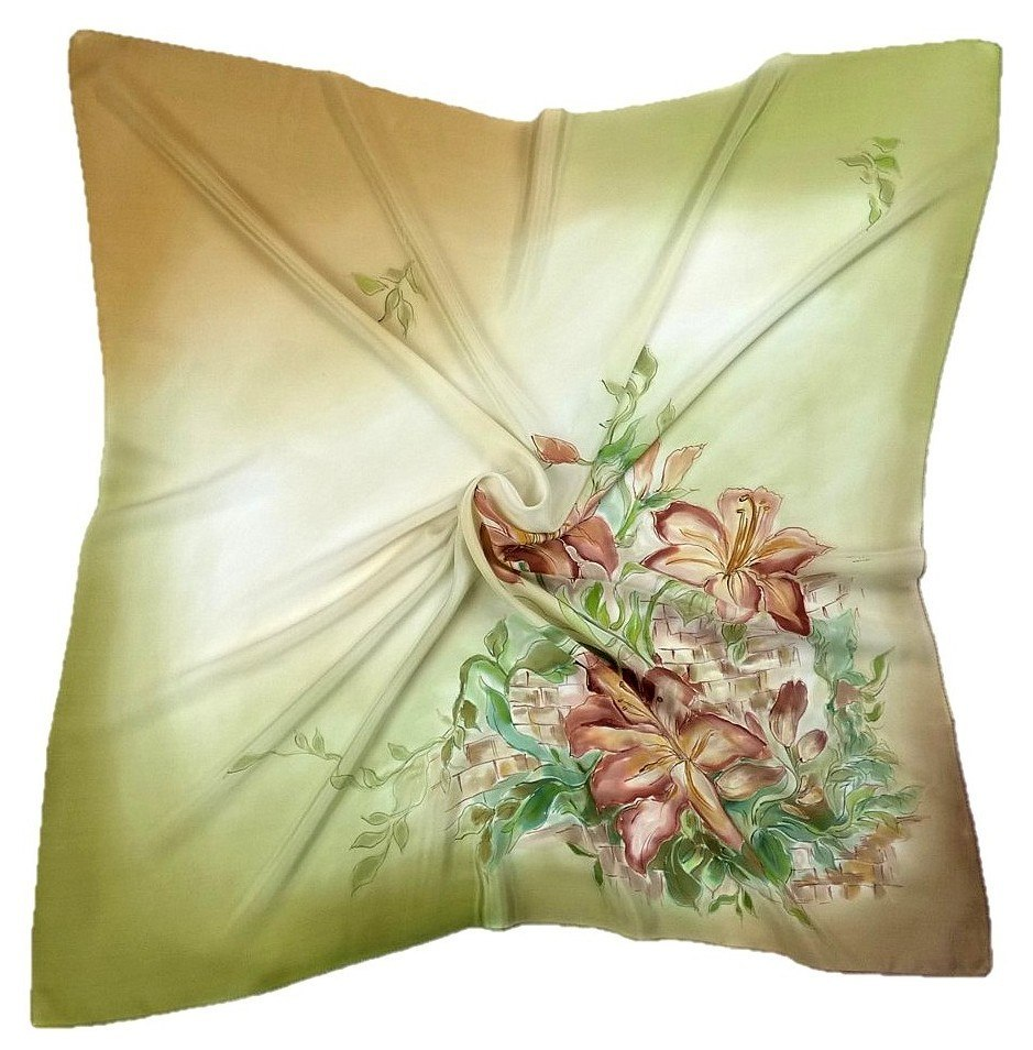 AM-219 Hand-painted silk scarf, 90x90cm (1)