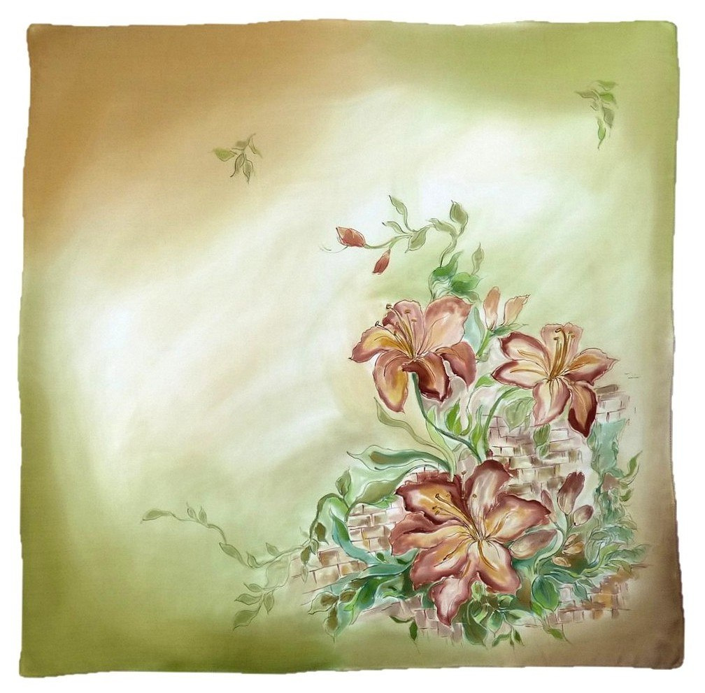 AM-219 Hand-painted silk scarf, 90x90cm (2)