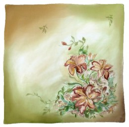 Green-and-beige Hand Painted Silk Scarf, 90x90cm