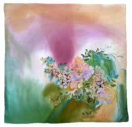 Multicolor Hand Painted Silk Scarf, 90x90cm