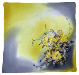 Gray-yellow Hand Painted Silk Scarf, 90x90cm