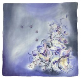 Violet-gray Hand Painted Silk Scarf, 90x90cm