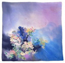 Violet-blue Hand Painted Silk Scarf, 90x90cm