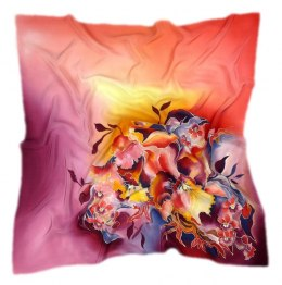 Orange and purple Hand Painted Silk Scarf, 90x90cm