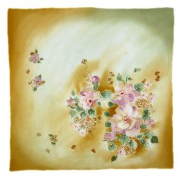 AM-525 Hand-painted silk scarf, 55x55 cm