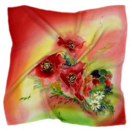 AM-526 Hand-painted silk scarf, 55x55 cm