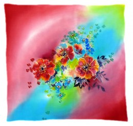 AM-527 Hand-painted silk scarf, 55x55 cm