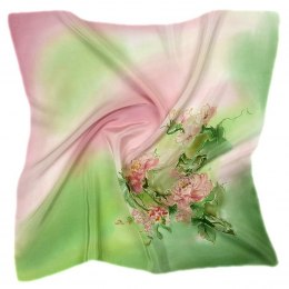 AM-528 Hand-painted silk scarf, 55x55 cm