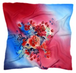 AM-530 Hand-painted silk scarf, 55x55 cm