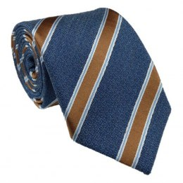 Navy silk tie with golden stripes - MILANO