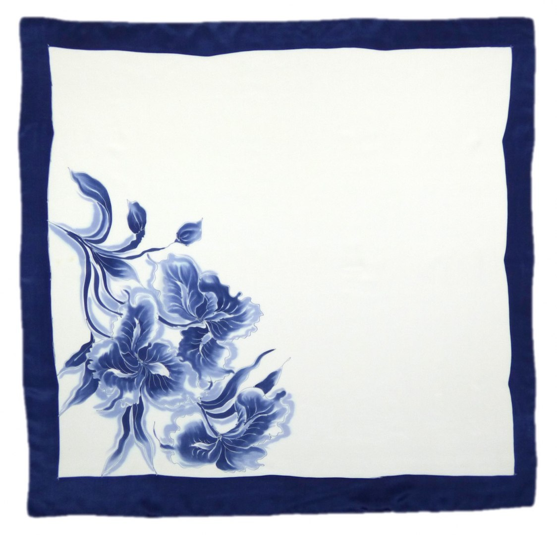 AM-294 Hand-painted silk scarf, 90x90cm